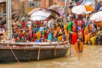 Worshipping Pilgrims on Ganges River, Varanasi, India Fine Art Print