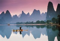 Cormorant fishing at dusk, Li river, Guangxi, China Fine Art Print