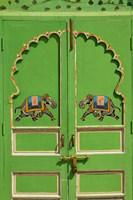 Elephants painted on green door, City Palace, Udaipur, India Fine Art Print
