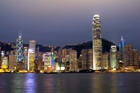 Hong Kong Skyline with Victoris Peak, China Fine Art Print