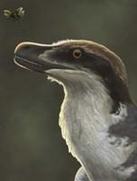 Acheroraptor dromaeosaurid dinosaur with hispine beetle Fine Art Print
