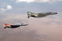 Two QF-4E Phantom II drones in formation over the New Mexico desert Fine Art Print