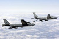 A B-52H Stratofortress refuels with a KC-135R Stratotanker Fine Art Print