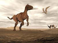 Velociraptor dinosaur in desert landscape with two pteranodon birds Fine Art Print