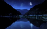 Moon rising over tranquil lake and forest against starry sky, Bulgaria Fine Art Print