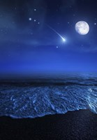 Tranquil ocean at night against starry sky, moon and falling meteorite Fine Art Print