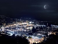 Aerial view of Port Hercules in Monaco at night Fine Art Print