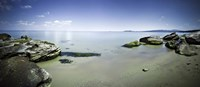 Panoramic view of tranquil sea and boulders against blue sky, Burgas, Bulgaria Fine Art Print