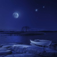 A boat moored near an icy stone in a lake against starry sky, Finland Fine Art Print
