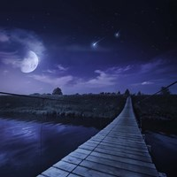 A bridge across the river at night against starry sky, Russia Fine Art Print