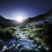 Small stream in the mountains at sunset, Pirin National Park, Bulgaria Fine Art Print
