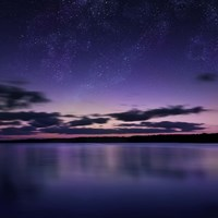 Tranquil lake against starry sky, Russia Fine Art Print