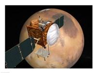 NASA's Mars Telecommunications Orbiter in Flight Around Mars Fine Art Print