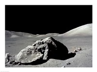 Astronaut standing near a rock on the moon, Apollo 17 Fine Art Print