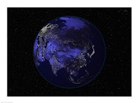 Satellite view of Earth showing city lights at night Fine Art Print