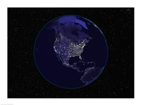 Satellite view of the Earth showing city lights at night Fine Art Print