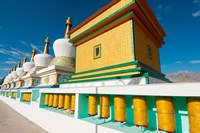 Chortens and prayer flags at Dali Lama's Ladakh home, Ladakh, India Fine Art Print
