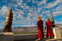 Monks playing horns at sunrise, Thiksey Monastery, Leh, Ledakh, India Fine Art Print