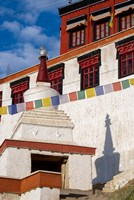 Prayer flags and a chorten at Thiksey Monastery, Leh, Ladakh, India Fine Art Print