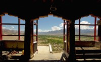 View from arched doorway, Gompas And Chortens, Ladakh, India Fine Art Print