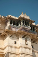 Decorated balconies, City Palace, Udaipur, Rajasthan, India. Fine Art Print