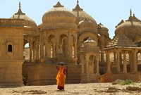 Bada Bagh with Royal Chartist and Finely Carved Ceilings, Jaisalmer, Rajasthan, India Fine Art Print