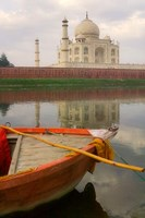 Canoe in Water with Taj Mahal, Agra, India Fine Art Print
