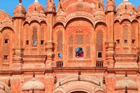 Tourist by Window of Hawa Mahal, Palace of Winds, Jaipur, Rajasthan, India Fine Art Print