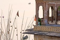 Daily Life Along The Ganges River, Varanasi, India Fine Art Print