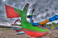 Outrigger boats, called jukungs, on beach, Bali, Indonesia Fine Art Print