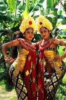 Golden Dancers in Traditional Dress, Bali, Indonesia Fine Art Print