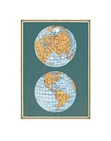 Map of the World's Hemispheres, two views Fine Art Print