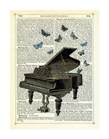Piano & Butterflies Framed Print