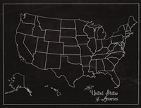 USA Map (chalk) Fine Art Print