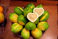 Display of fresh heart shaped limes, Tokyo, Japan Fine Art Print
