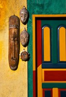 Decorated Door with Handcrafted Masks in Ubud, Bali, Indonesia Fine Art Print