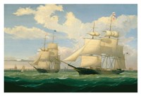 """The Ships """"Winged Arrow"""" and """"Southern Cross"""" in Boston Harbor, 1853 Fine Art Print"""
