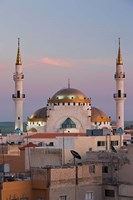Jordan, Kings Highway, Madaba, Town view with mosque Fine Art Print