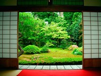 Traditional Architecture and Zen Garden, Kyoto, Japan Fine Art Print