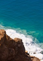 Deposit of salt and gypsum by the cliff in Dead Sea, Jordan Fine Art Print