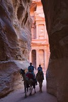 Tourists in Al-Siq leading to Facade of Treasury (Al Khazneh), Petra, Jordan Fine Art Print