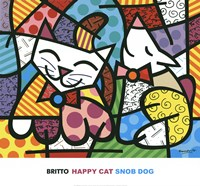 Happy Cat and Snob Dog Fine Art Print