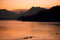 Mekong River at Sunset, Luang Prabang, Laos Fine Art Print