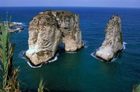 Asia, Lebanon, Beirut, Coastal Pigeon Rocks Fine Art Print