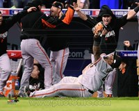 Pablo Sandoval Celebrates the final out Game 7 of the 2014 World Series Fine Art Print