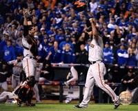 Buster Posey & Madison Bumgarner celebrate winning Game 7 of the 2014 World Series Framed Print