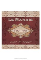 Burgundy Wine Labels I Fine Art Print