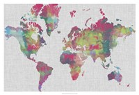 Impasto Map of the World Fine Art Print