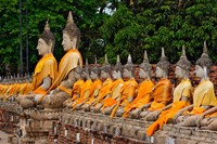 Row of Buddha statues, Wat Yai Chaya Mongkol or The Great Temple of Auspicious Victory, Ayutthaya, Thailand Fine Art Print