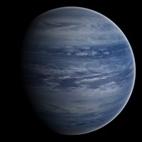 Artist's concept of a blue-white gas giant planet Fine Art Print